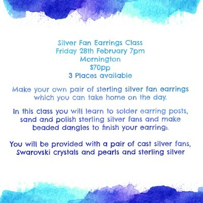 Silver Fan Earrings Workshop - Saturday 28th March, 10.00am, Mornington