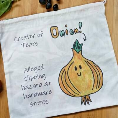 Onion Produce Bag - Medium Size - Printed with Cutie Onion Artwork