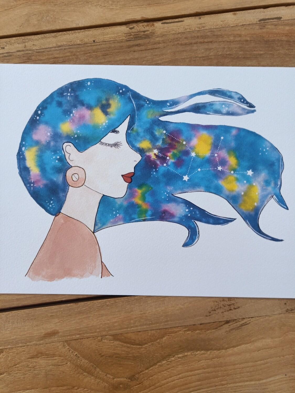 Virgo Zodiac Galaxy Hair Watercolour Print -  A4 or A3