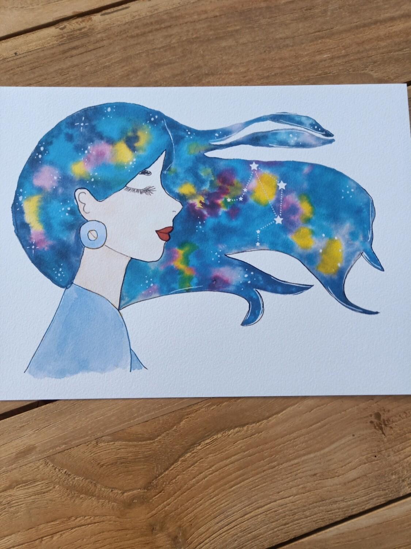 Libra Zodiac Galaxy Hair Watercolour Print -  A4 or A3
