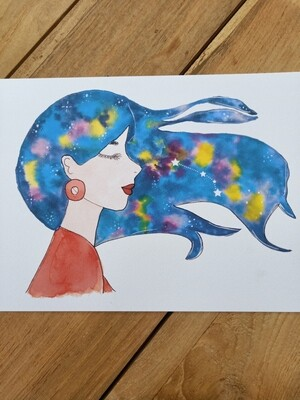 Aries Zodiac Galaxy Hair Watercolour Print -  A4 or A3