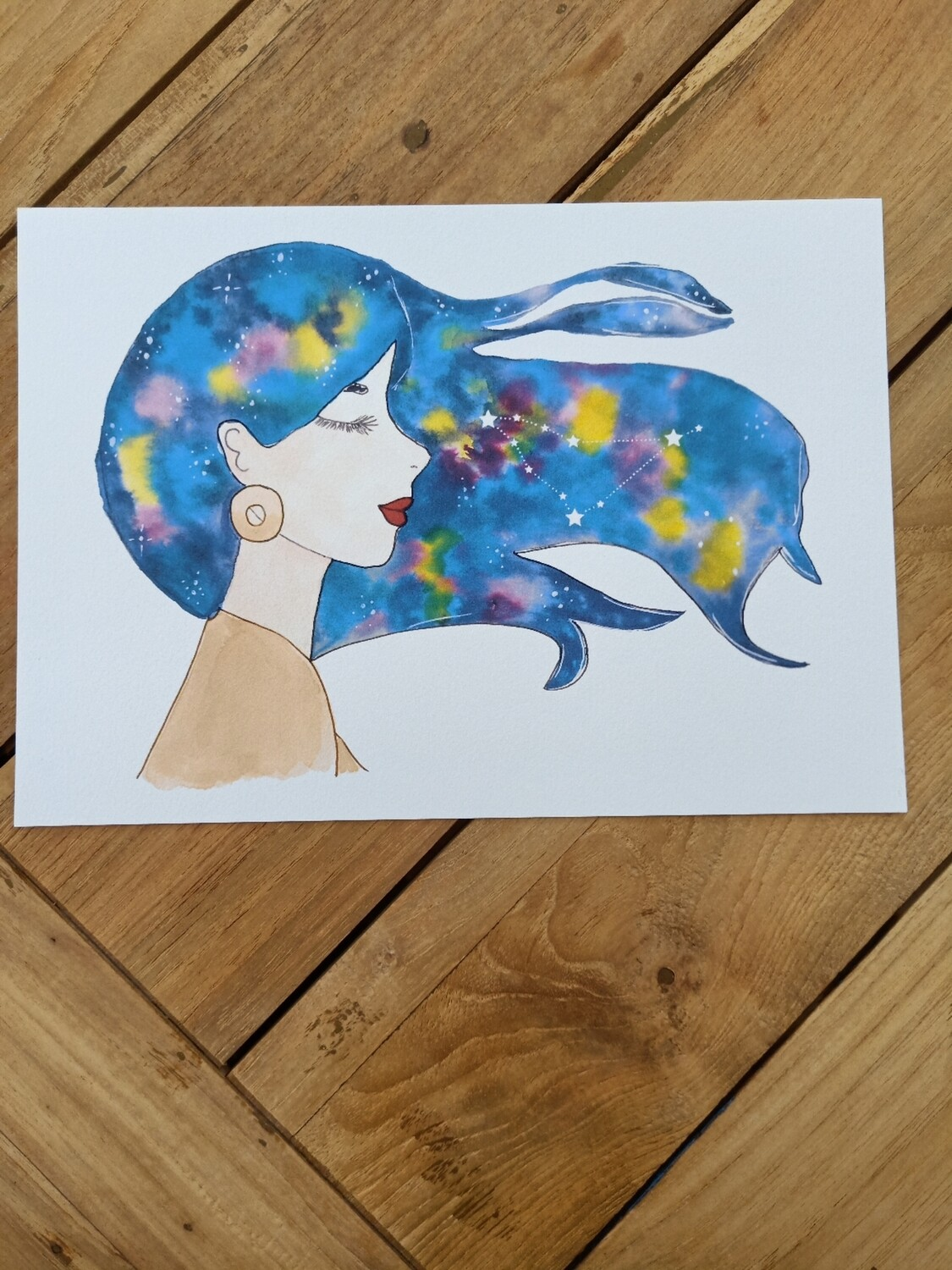Capricorn Zodiac Galaxy Hair Watercolour Print -  A4 or A3