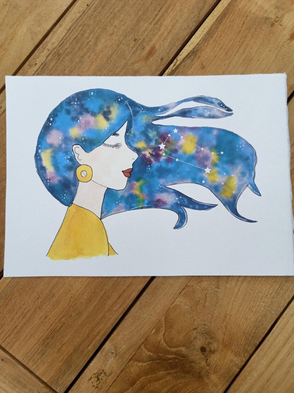 Gemini Zodiac Galaxy Hair Watercolour Print -  A4 or A3