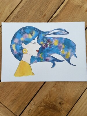 Gemini Zodiac Galaxy Hair Watercolour Print -  A4 or A3