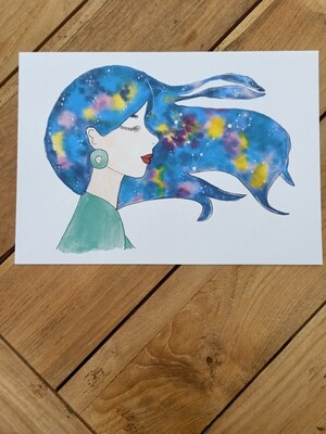 Pisces Zodiac Galaxy Hair Watercolour Print -  A4 or A3
