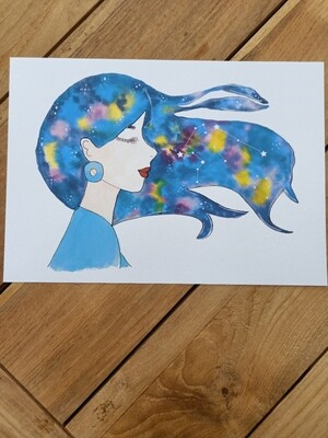 Aquarius Zodiac Galaxy Hair Watercolour Print -  A4 or A3