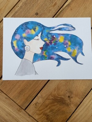 Cancer Zodiac Galaxy Hair Watercolour Print -  A4 or A3