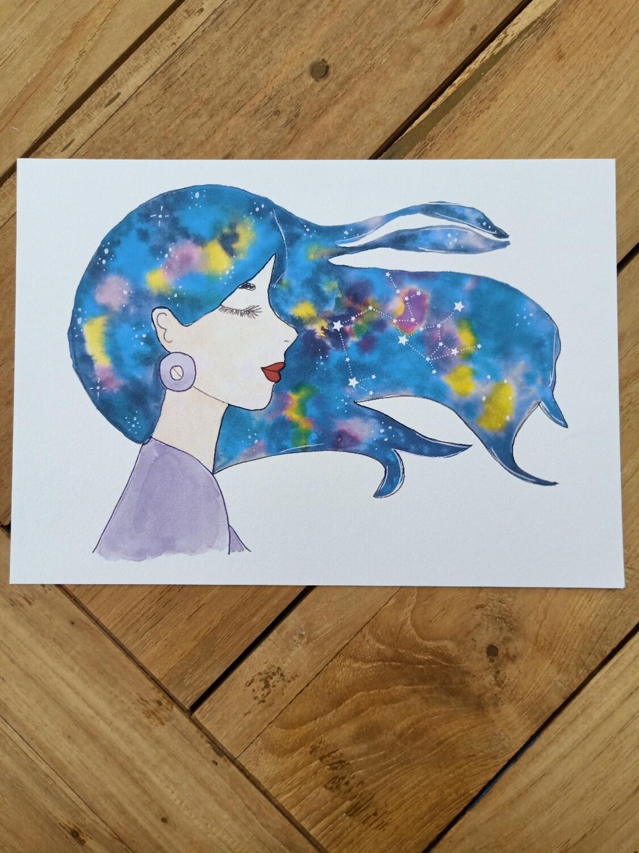 Sagittarius Zodiac Galaxy Hair Watercolour Print -  A4 or A3
