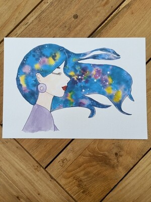 Sagittarius Zodiac Galaxy Hair Watercolour Print -  A4 or A3