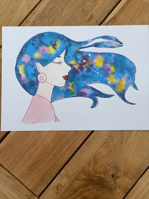 Taurus Zodiac Galaxy Hair Watercolour Print -  A4 or A3