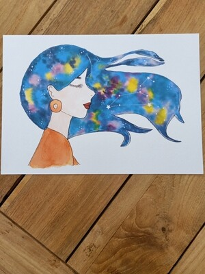 Leo Zodiac Galaxy Hair Watercolour Print -  A4 or A3