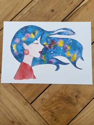 Scorpio Zodiac Galaxy Hair Watercolour Print -  A4 or A3
