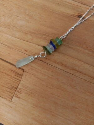 Sea Glass Pendant with Sterling Silver Chain - one of a kind