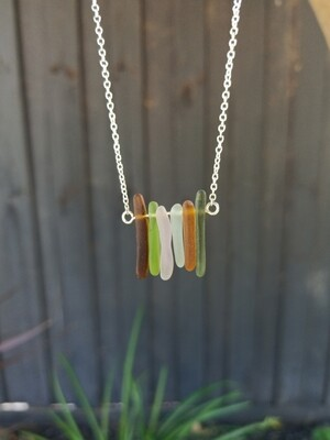 Sea Glass Bar Necklace with Sterling Silver Chain - one of a kind