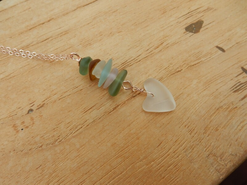 Sea Glass Stacking Pendant with Clear Heart Shaped  drop and Rose Gold Filled Chain - one of a kind