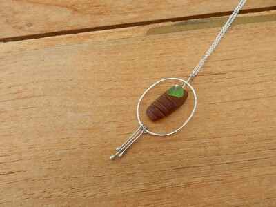 Sea Glass and Sterling Silver Oval Pendant with Sterling Silver Chain - one of a kind