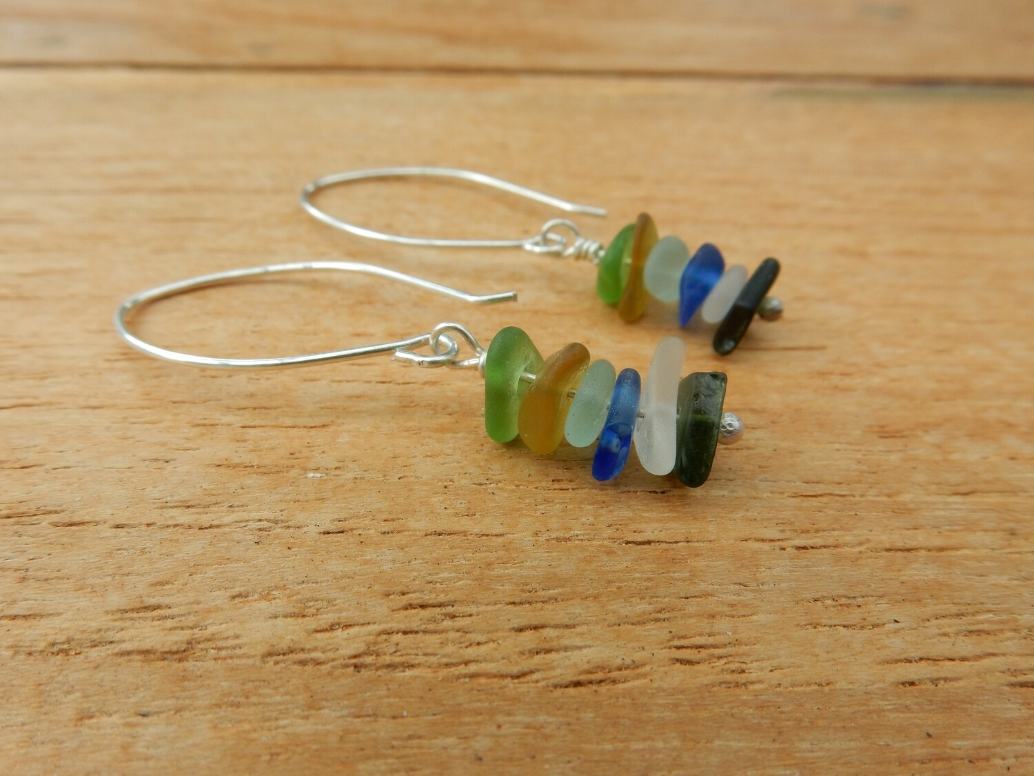 Sterling Silver Sea Glass Earrings - one of a kind