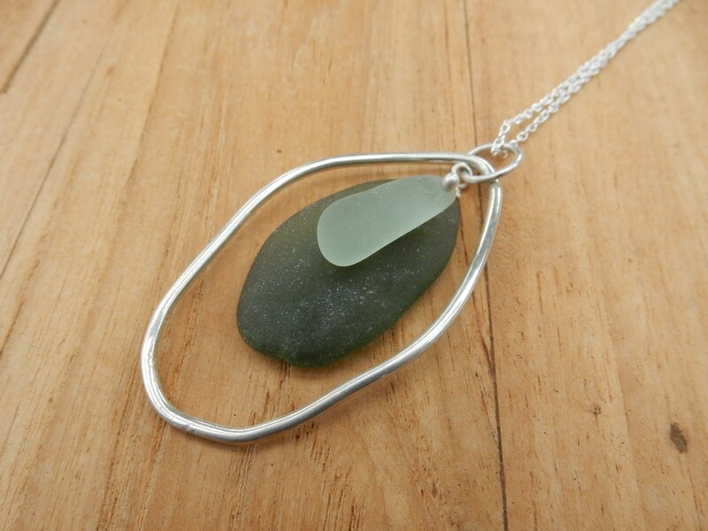 Sea Glass and Sterling Silver Organic Shape Pendant with Sterling Silver Chain - one of a kind