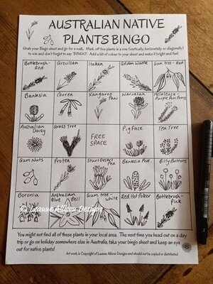 Australian Native Bingo Sheet - Digital Download
