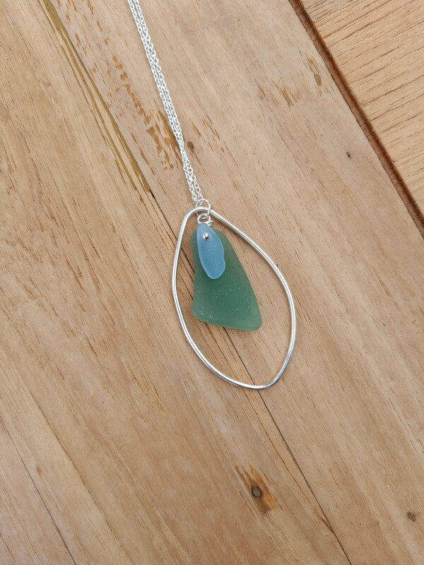 Sea Glass and Sterling Silver Leaf Shape Pendant with Sterling Silver Chain - one of a kind