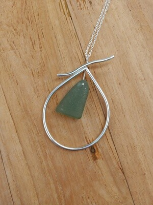 Sea Glass and Sterling Silver Teardrop Pendant with Sterling Silver Chain - one of a kind