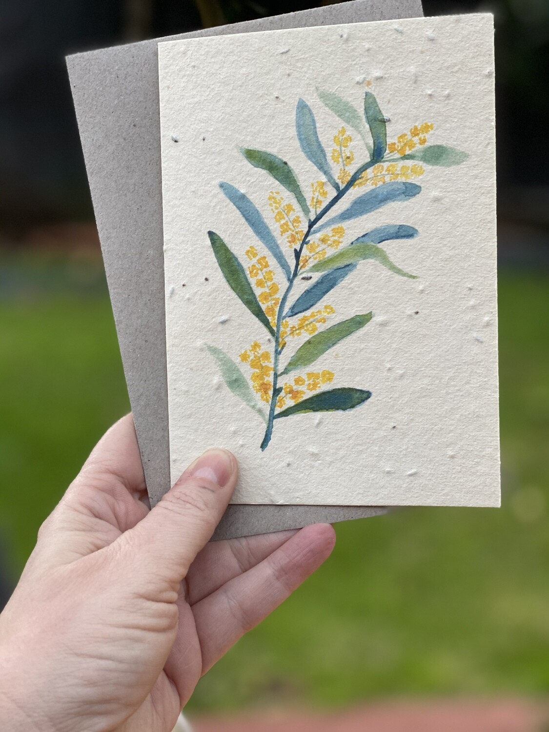 Wattle Print Large Seeded Card - Free Shipping