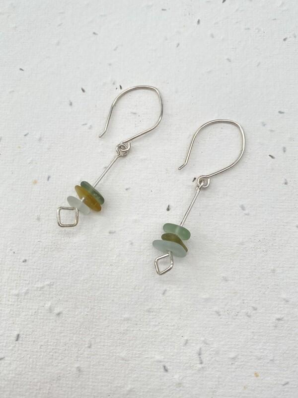 Sterling Silver Sea Glass Drop Earrings - one of a kind