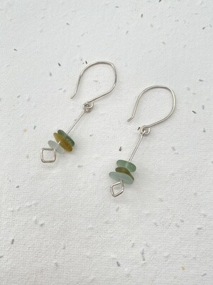 Sterling Silver Sea Glass Drop Earrings - one of a kind