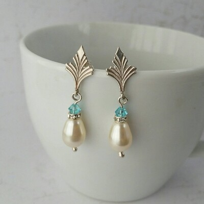 Bride and Bridesmaid vintage style sterling silver, pearl and light blue crystal earrings.  Something Blue
