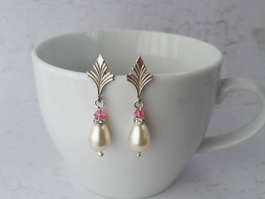 Bride or Bridesmaid, sterling silver, cream pearl & pink crystal earrings