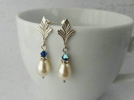 Bride, Bridesmaid Vintage Style Sterling Silver,  Pearl and Blue Crystal Silver Stud Earrings.  Something Blue