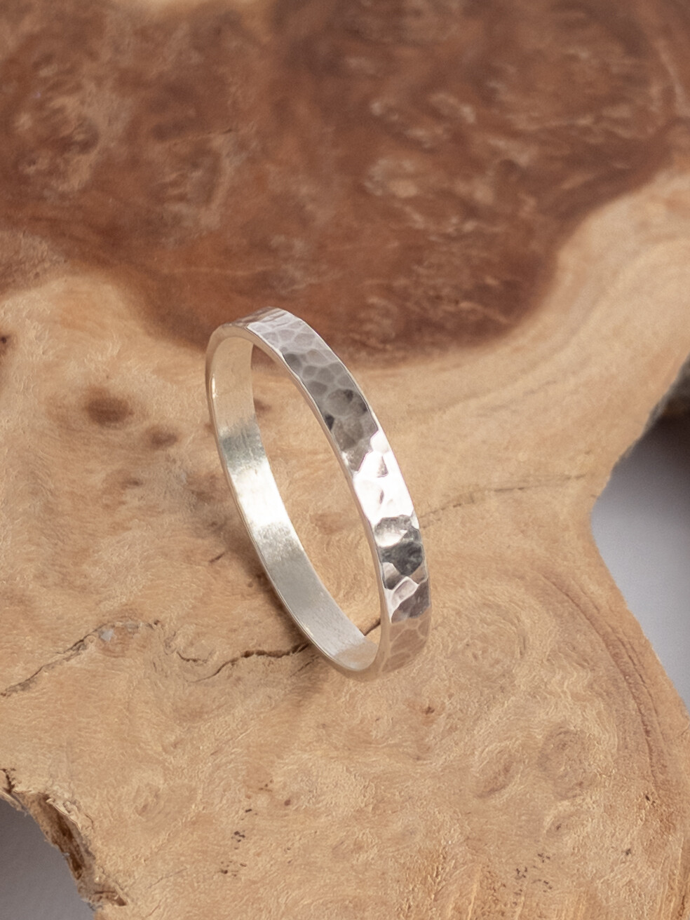 Handmade Sterling Silver 3mm Mens Wedding Band with Hammered Finish