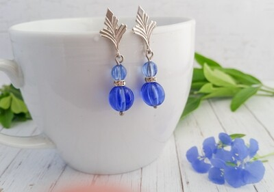 Art Deco style Sterling Silver and Blue Vintage Bead Earrings