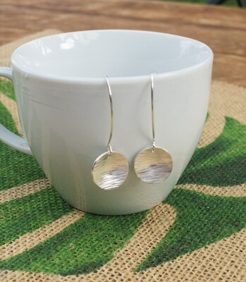 Sterling Silver Earrings. Large Hammered Circle Dangles