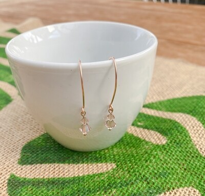 Rose Gold Filled Swarovski Crystal Earrings.