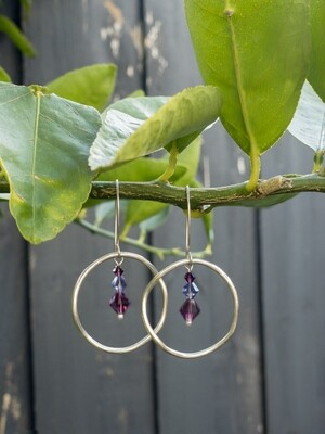 Recycled Sterling Silver Organic Circle Earrings with Swarovski Crystals. Eco Friendly