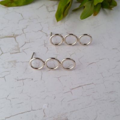 Sterling Silver Triple Circle Stud Earrings.