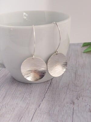 Sterling Silver Earrings.  Extra Large Hammered Circle Dangles