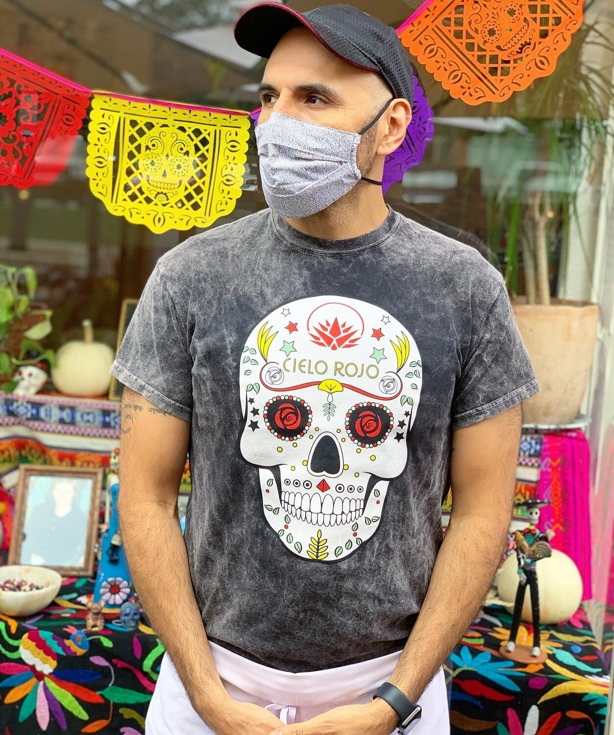 Dia de los Muertos T-shirt BLACK MINERAL WASH (SMALL & MEDIUM)