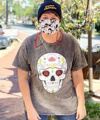 Dia de los Muertos T-shirt GREY MINERAL WASH (LARGE & X-LARGE)