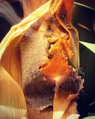 Pumpkin, Rajas, Oaxacan & Feta Cheese Tamale