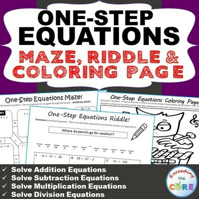 ONE-STEP EQUATIONS Maze, Riddle & Color by Number Coloring Page