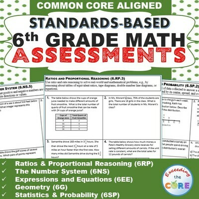 6th Grade Math Standards Based Assessments BUNDLE Common Core