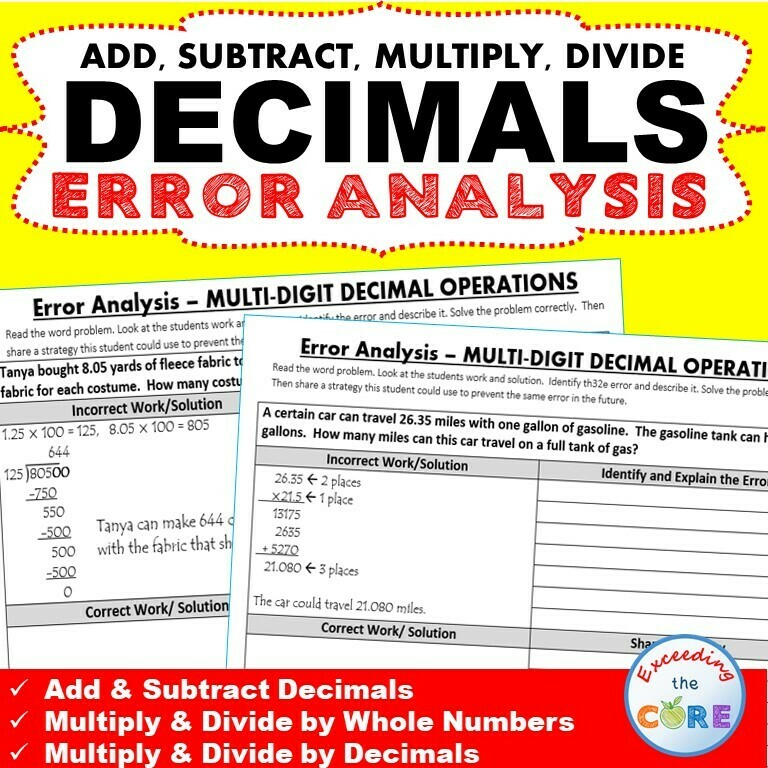 DECIMAL OPERATIONS Word Problems - Error Analysis (Find the Error)