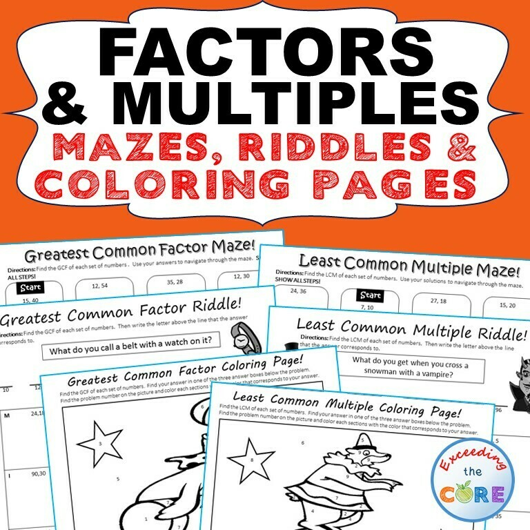 FACTORS & MULTIPLES GCF LCM Mazes, Riddles Coloring Page by Number Math Activity