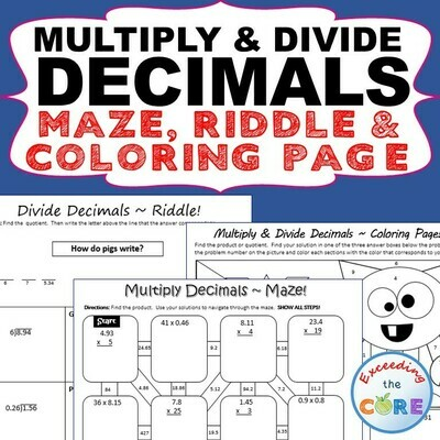 MULTIPLY AND DIVIDE DECIMALS Maze, Riddle, Coloring Page by Number Activities