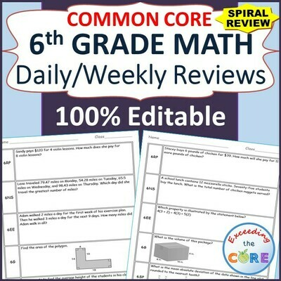 6th Grade Daily or Weekly Spiral Math Review Common Core - Editable