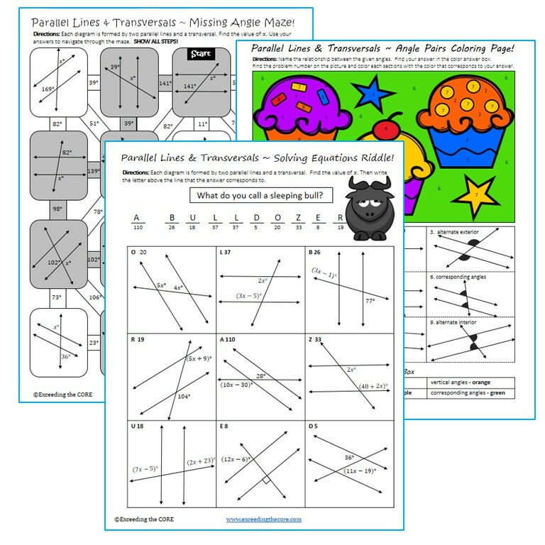 Parallel Lines And Transversal Maze Riddle Color By Number Fun Math Activities