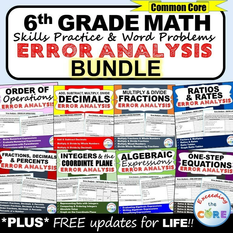 6th Grade Math ERROR ANALYSIS (Find the Error) Common Core BUNDLE
