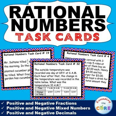 RATIONAL NUMBERS (Fractions & Decimals) Word Problems - Task Cards {40 Cards}